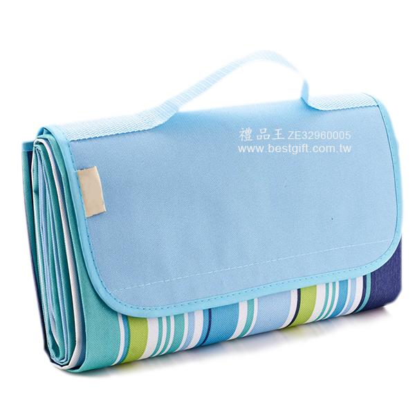 手提摺疊野餐墊/藍色彩條